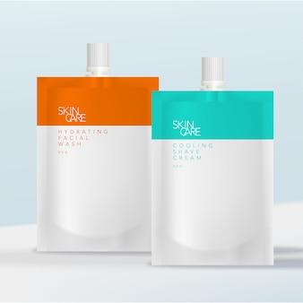 Saquinho ou bolsa com tampa de rosca com nervuras para cuidados com a saúde, beleza, produtos para a pele ou bebidas energéticas.