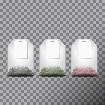 Saquinhos de chá com ervas secas verdes, vermelhas e pretas em pacotes, publicidade de bebidas saudáveis orgânicas mock-se.