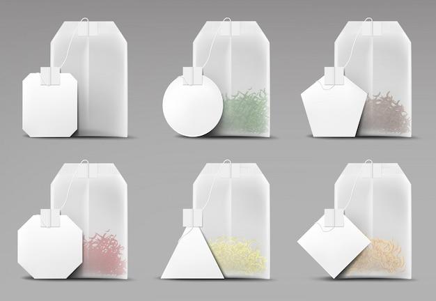 Saquinhos de chá conjunto isolado na cinza
