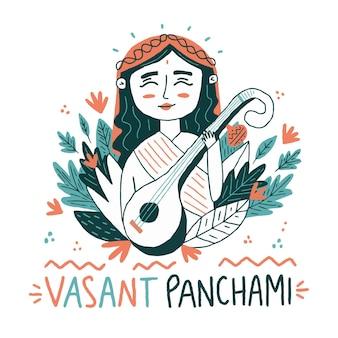 Saraswati desenhados à mão tocando um instrumento musical