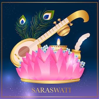 Saraswati tradicional desenhado à mão