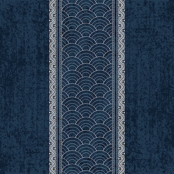 Sashiko indigo dye pattern com bordados japoneses brancos tradicionais
