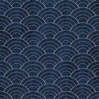 Sashiko seamless indigo dye padrão com tradicional branco japonês bordado