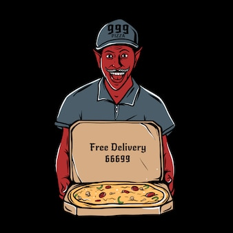 Satanás, segurando a caixa de papelão aberta com pizza de pepperoni dentro de ilustração