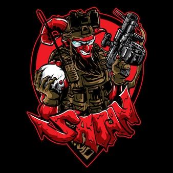 Satanás sorridente com arma e crânio