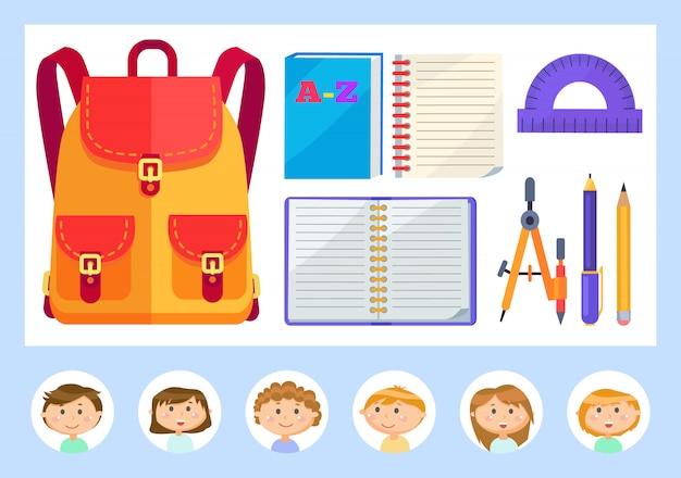 Satchel e material escolar para alunos lições