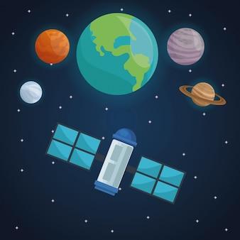 Satélite com planetas de visão no cosmos Vetor Premium