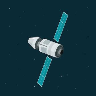 Satélite de estação espacial plana dos desenhos animados isolado no fundo do espaço escuro