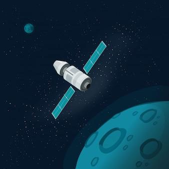 Satélite do universo ou espaço sideral com planetas e nave espacial