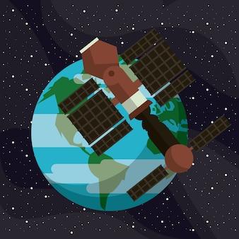 Satélite espacial voando ao redor da terra