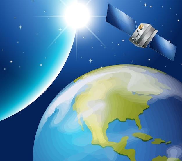 Satélite orbitando em torno da terra