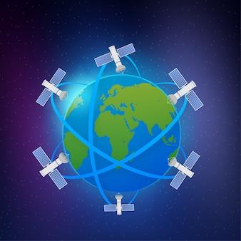 Satélites artificiais orbitando o planeta terra