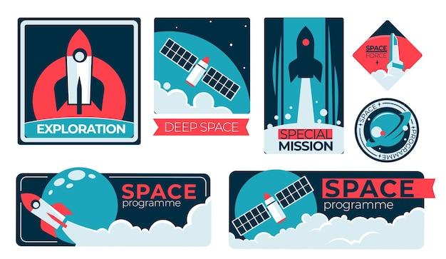 Satélites e lançamento de foguetes e naves espaciais no cosmos. explorando o espaço sideral e planetas desconhecidos. transporte futuro para terráqueos. vôo de universos e galáxias. vetor em estilo simples