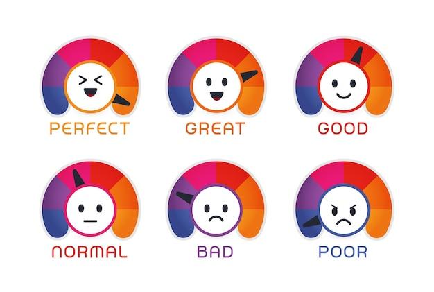 Satisfação do usuário emojis de ilustração vetorial plana com velocímetros estilizados com feedback dos clientes