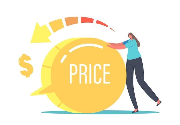Satisfação dos clientes com o custo e valor do produto. oferta de compras para compradores. conceito de equilíbrio de preço e qualidade. minúscula personagem feminina, girando o interruptor enorme para baixo. ilustração em vetor desenho animado