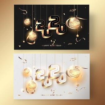 Saudação 2020 com banner de enfeites iluminados e confetes dourados de suspensão