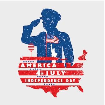Saudação à liberdade da américa em 4 de julho com a bandeira do grunge