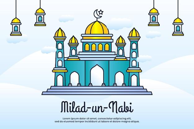 Saudação ao festival milad un nabi mubarak com fundo de mesquita
