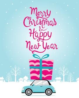 Saudação carro feliz natal