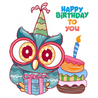 Saudação cartão de aniversário com coruja bonita