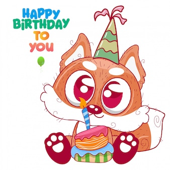 Saudação cartão de aniversário com fox fofo