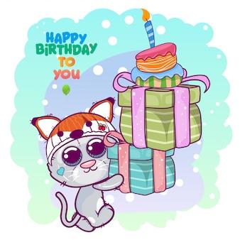Saudação cartão de aniversário com gatinho fofo