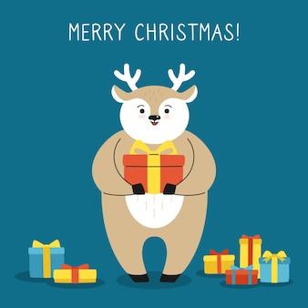 Saudação cartão de natal, cervo com caixa de presente renas desenhadas à mão personagem de desenho animado