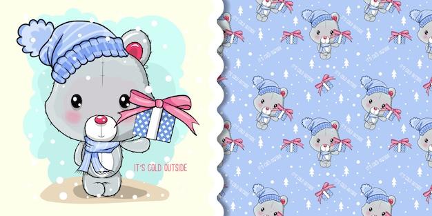 Saudação cartão de natal com urso polar dos desenhos animados