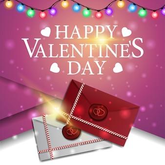 Saudação cartão-de-rosa para dia dos namorados com cartas de amor