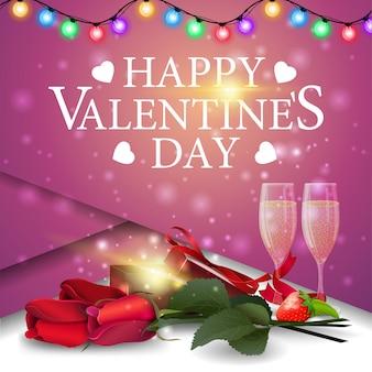 Saudação cartão-de-rosa para dia dos namorados com presente e flores