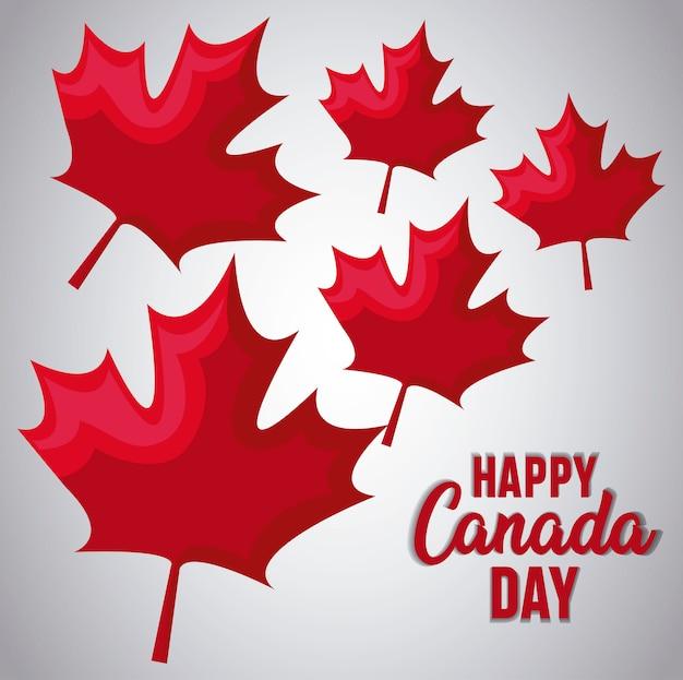 Saudação cartão do feliz dia do canadá com maple leafs