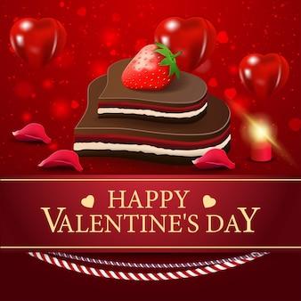 Saudação cartão vermelho para o dia dos namorados com doces de chocolate
