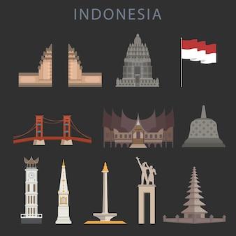 Saudação da indonésia dia da independência estilo flat