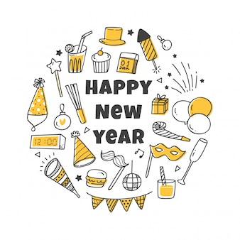 Saudação de ano novo com conjunto de ícones bonitos
