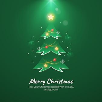 Saudação de árvore de feliz natal com ambiente de iluminação simples