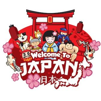 Saudação de boas-vindas ao japão com desenhos animados de estilo bonito