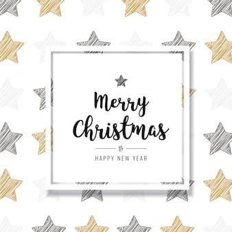 Saudação de cartão dourado estrelas rabisco de natal