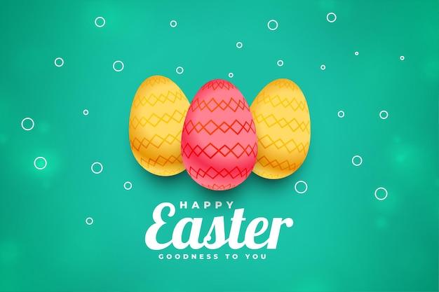 Saudação de celebração da páscoa com três ovos realistas