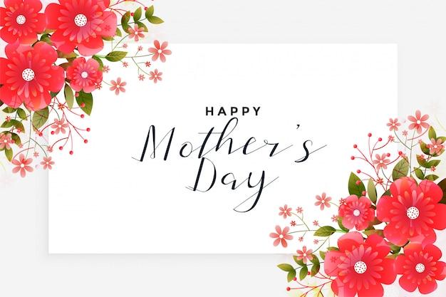 Saudação de dia das mães com decoração de flor