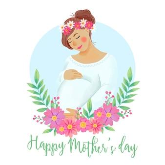 Saudação de dia das mães em aquarela