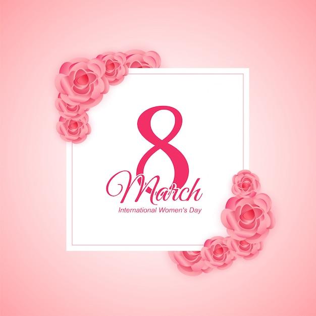 Saudação de dia das mulheres com fundo rosa