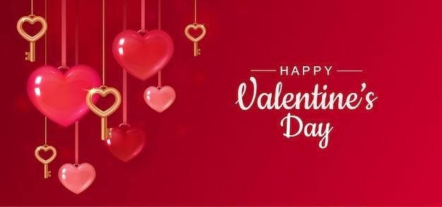 Saudação de dia dos namorados com corações vermelhos e chaves de ouro. Vetor Premium