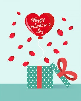 Saudação de dia dos namorados com um balão de coração