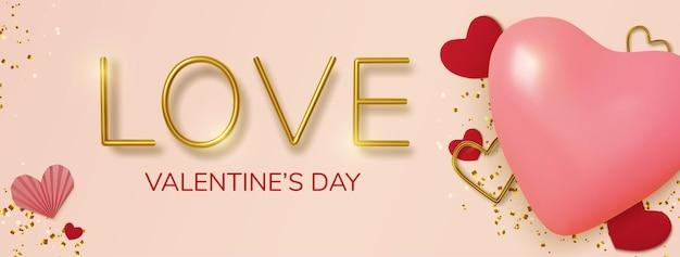 Saudação de dia dos namorados, corações de balão rosa realistas e texto dourado em fundo rosa