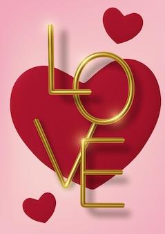Saudação de dia dos namorados, corações de papel vermelho realistas e texto dourado em fundo rosa