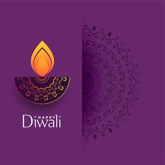 Saudação de diwali artística com decoração de mandala