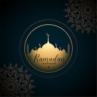 Saudação de eid de estilo tradicional de mandala árabe em estilo ramadan kareem