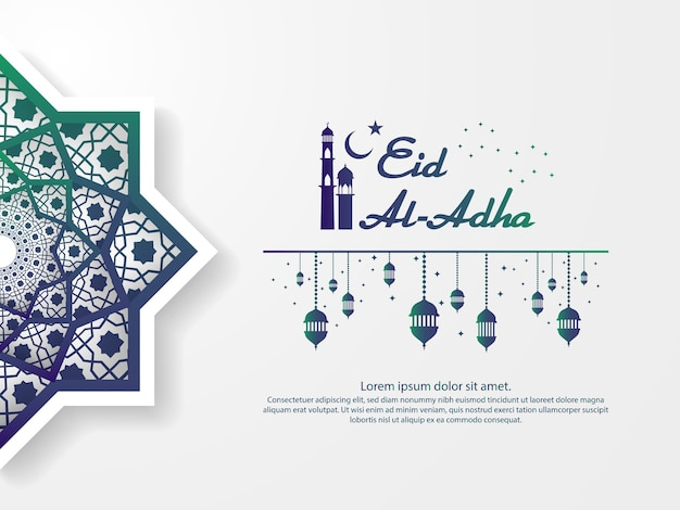 Saudação de eid mubarak design com elemento abstrato mandala