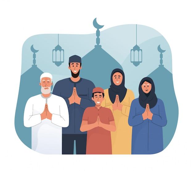 Saudação de família feliz e comemorando eid mubarak