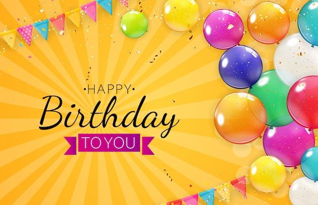 Saudação de feliz aniversário com balões coloridos.